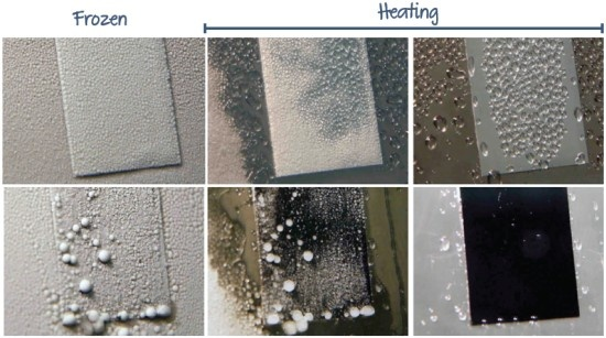 Ice formation by deep freezing (to -10°C) in high-humidity conditions (60% relative humidity) and subsequent de-icing by heating